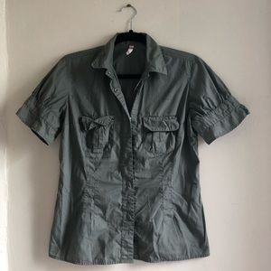 Button down military blouse
